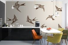 Illustrative Swallows Wall Mural