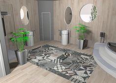 salle de bains carrelage imitation parquet avec un tapis en carreaux 20x20 de chez mutina