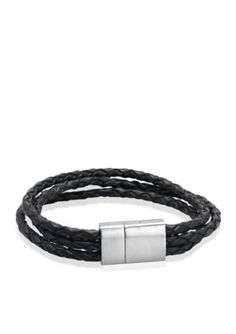 Belk  Co.  Mens Leather and Stainless Steel Bracelet