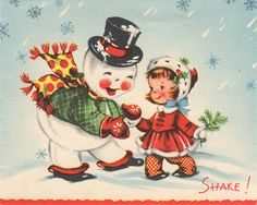Vintage snowman with girl Christmas greeting card