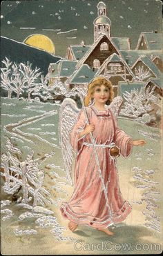 Angel in Pink walking on Snow in the Moonlight Angels