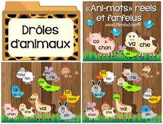 Activité Ani-mots réels et farfelus pour TBI (6-7 ans) : L'élève associe des syllabes présentées sur des illustrations de parties d'animaux, afin de reconstruire et lire des mots. L'élève assemble donc les têtes et les corps d'animaux. Par la suite, l'élève crée des nouveaux animaux farfelus et, par le fait même des mots farfelus, en mélangeant les syllabes, soit les têtes et les corps des animaux. Cette activité se prolonge dans une activité d'écriture, French Resources, French Language, Kindergarten, Illustrations, Teaching, Activities, School, Literacy, Tes