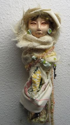 A helpful Cottage Kitchen Witch, Ooak Assemblage Art doll, Shabby Chic Decor