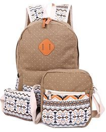 3pcs Zipper Type Backpack With Prints - Brown