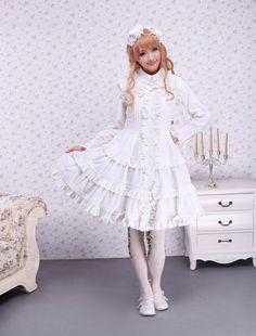 Cotton White Ruffle Sweet Lolita Dress