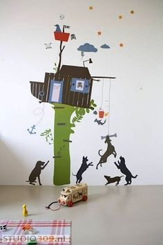 treehouse wall mural