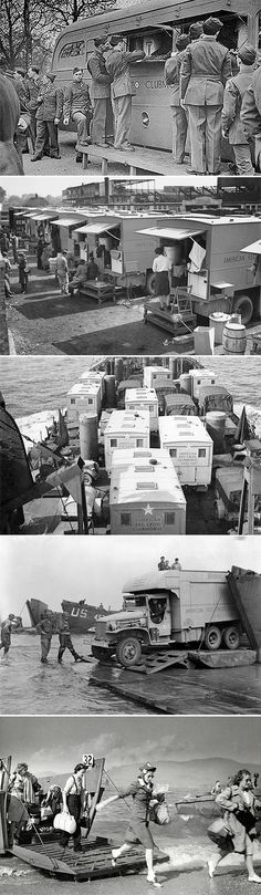 """26 Oct 42: American Red Cross """"clubmobiles"""" begin service in England. Affectionately called """"Doughnut Dollies,"""" the clubmobile women will be a source of tremendous morale-boosting comfort to war-weary troops through the end of the war. More: http://scanningwwii.com/a?d=1026&s=b421026 #WWII"""