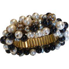 Vintage Cha Cha Bracelet Pearls Rhinestones with Matching Jingle Jangle Earrings