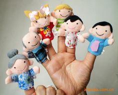 6 unids dedo títeres clásicos Happy Family cuentos muñecas de la felpa del bebé juguetes manos marioneta(China (Mainland))