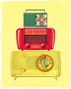 Art print vintage looking old retro radios you  by OldOwlPress