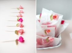 mini treat bags with mini crepe paper flowers on toothpicks. darling!!