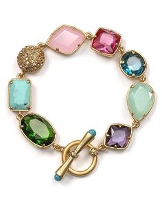 Gemstone and gold bracelet. I love the pretty pastels and the different textures of the stones.