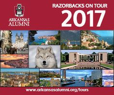 Travel The World in 2017 with #RazorbacksOnTour. #ArkansasAlumni, join fellow alumni and friends to explore destinations both near and far. Visit http://ow.ly/hwJD303GDwc to see the full 2017 tour schedule.