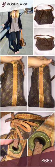 """Authentic Louis Vuitton Monogram Petit Noe Brown & tan monogram coated canvas Louis Vuitton Petit Noe, tan vachetta leather trim, flat shoulder strap, brown woven lining & drawstring closure at top.  Make me an offer!  Condition: Exterior: Vintage & well loved. The drawstrings show wear (Pic 3). Leather shows marks from wear and base has mark from use (pics 2 & 4). Hardware shows surface wear. Interior: Excellent! (Pic 4)  Date code is worn, but there. (Bottom left of pic 3)  Handle Drop 5""""…"""