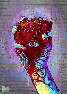 love blood trippy lsd pain eye acid psychedelic hand trip heart bleeding heart beat thc dmt Psychedelic art psychedelia third eye psychedelics trippy art Pineal Gland Bleeding Heart dmt art acid art trip art LSD art love pain phazed thc art holding heart