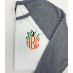 Three Quarter Sleeve Raglan Tee Monogram Halloween Pumpkin Design ($24) ❤ liked on Polyvore featuring tops, t-shirts, black, women's clothing, t shirts, 3/4 sleeve t shirt, holiday shirts, black cotton shirt and black t shirt