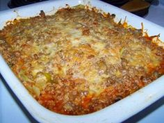 INGREDIENTS: 1 small head of cabbage, chopped 1 lb. ground beef 1 small onion 1 cup instant rice 1-10 oz. cans tomato soup 2 cups of water ...