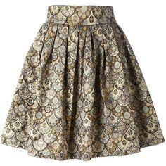 Leo 'Skater' skirt (315 RON) ❤ liked on Polyvore featuring skirts, circle skirt, brown skater skirt, brown skirt, flared skirt and skater skirt