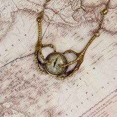 Eye pendant, claw pendant, dragon's eye pendant, glass pendant, eye and claws, gothic pendant, steampunk pendant, fantasy, LARP