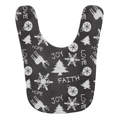 Chalkboard Christmas Fun Pattern Holiday Baby Bibs