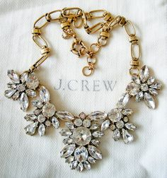 J CREW CRYSTAL STATEMENT NECKLACE NEW NWOT + POUCH