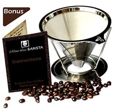 Mona Lisa BARISTA Pour Over Coffee Dripper  Stainless Steel Size 14 Cup -- Read more  at the image link.Note:It is affiliate link to Amazon. #RelaxWithCoffee