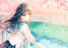 Anime Original Canal Smile Brown Hair Blue Eyes Blush School Uniform Spring Petal Blossom Girl Long Hair Wallpaper