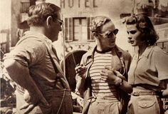 photo:Director Gregory Ratoff with Leslie Howard and Ingrid Bergman on the set of Intermezzo