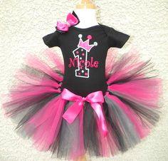 Black Hot Pink Princess 1st Birthday Tutu Outfit