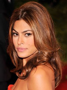 Medium-length: Eva Mendes  The nice thing about longer hair is that you can create some volume around the top of your head     Read more: Celebrity Hair - Best Celeb Hairstyles - Redbook