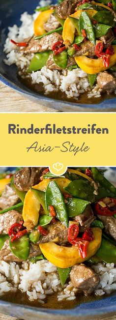 Asian beef fillet strips with ginger and rice-Asiatische Rinderfiletstreifen mit Ingwer und Reis The tender, juicy beef harmonises perfectly with crunchy sugar snap peas, butternut squash and the spiciness of ginger and chilli. Pork Chop Recipes, Grilling Recipes, Fish Recipes, Vegetable Recipes, Meat Recipes, Asian Recipes, Mexican Food Recipes, Healthy Recipes, Ethnic Recipes