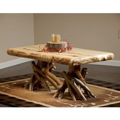 Fireside Aspen Log Coffee Table.  Great center piece in the living room. Rustic and essential.