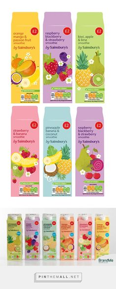 Sainsbury's: Smoothie Redesign on Behance by Steph Baxter curated by Packaging Diva PD. In conjunction with BrandMe to create the packaging illustrations and layout designs for Sainbury's new range of smoothies.