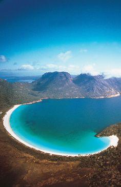 Raise a glass to the beauty of Wineglass Bay, Tasmania. #Australia