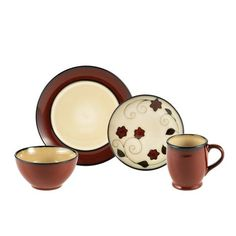Mikasa Round Red Leaves Dinnerware Set, 16 Piece, Service for 4
