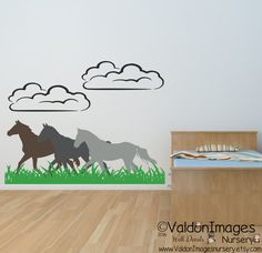 Playful running horses nursery wall decal by ValdonImagesNursery #newhome #kidsroomdecor #horse #walldecals