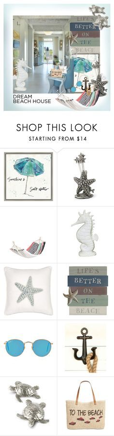 """""""Dream Beach House"""" by zouus ❤ liked on Polyvore featuring interior, interiors, interior design, home, home decor, interior decorating, Green Leaf Art, Vagabond House, Fitz & Floyd and Harbor House"""