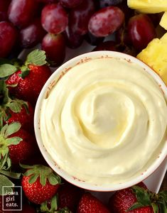 Overhead photo of bowl of fruit dip