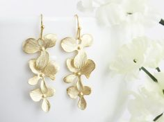 Orchids Earrings in Gold Valentine's Day by LeCharmeJewelry, $22.50