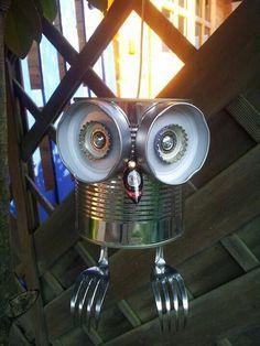 Tin can Tin can-Boite de conserve Boite de conserve Tin can Tin can - Tin Can Crafts, Owl Crafts, Crafts For Kids, Aluminum Can Crafts, Garden Crafts, Garden Projects, Garden Ideas, Tin Can Art, Junk Art