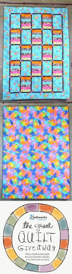 Repin this to help me win quilts to raffle off to feed  hungry children! Hummingbirds in blue, orange, pink and black.  Striking grid quilt.  Fabric collection: Flying Colors by Laurel Burch.  #Clothworksquiltgiveaway