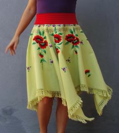 Flamenco Tassel Skirt Red Poppies Vintage Embroidery by StarsWear #flamenco #dance #poppies #embroidery #skirt #clothing