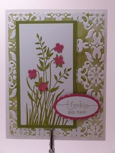On this card, we rolled the Brayer on the Old Olive ink pad, then rolled that on the Stampin Up! side of the embossing folder, then embossed white cardstock.  It makes an awesome background, and you can do it with all of your folders!  Both sides work, they just give a different image.