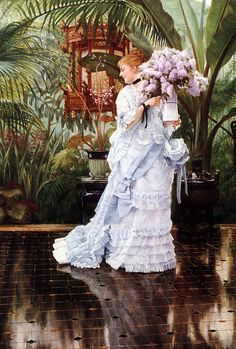 Lilacs by James Tissot. 1875.... Simply Wonderful! Note the reflection on the floor...