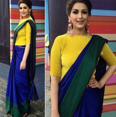 What do you think of colour blocked saree? Sari Blouse Designs, Fancy Blouse Designs, Designer Blouse Patterns, Corset Blouse, Saree Blouse, Collar Blouse, Saree Wearing Styles, Saree Styles, Blouse Styles