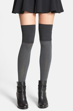 Hue Microfiber Over the Knee Boot Liners | Smooth, opaque tights are a flirty addition to favorite boots, designed with a double-layer cuff for a no-slip fit.