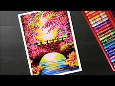 How to draw spring season landscape scenery drawing step by step with oil pastel - YouTube