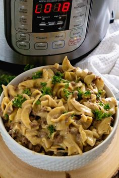 Instant Pot {Pressure Cooker} Hamburger Stroganoff ~ Our Favorite Meal Now in the Instant Pot! Only One Dish to Clean and You Have an Easy Dinner Recipe! ~ https://www.julieseatsandtreats.com
