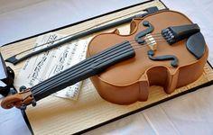 Musical cake - violin cake. #music #musiccrafts #violin http://www.pinterest.com/TheHitman14/musical-crafts-%2B/