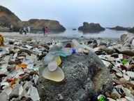 Glass Beach – Fort Bragg, California. We went there once. It is a beautiful beach town. So artsy